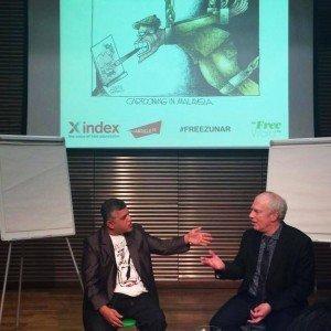 Zunar in London with cartoonist Martin Rowson