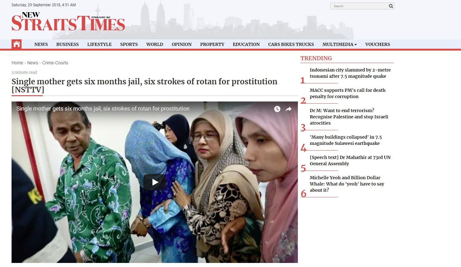 Single mother to be whipped NST 27 September 2018 · Rebuilding Malaysia